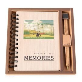 2 Piece Set - Wooden Note Book and Pen (Size 14x8 Cm)