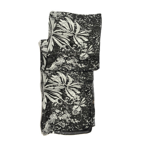 100% Mulberry Silk Black and Off White Colour Handscreen Floral Printed Scarf (Size 200X88 Cm)
