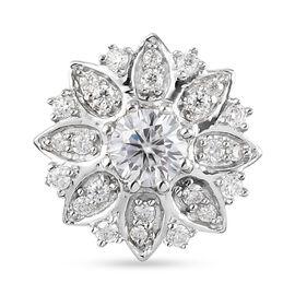Moissanite Floral Pendant in Platinum Overlay Sterling Silver