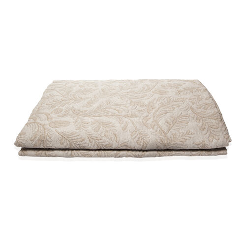 Egyptian Cotton King Size Pique Bedcover with Leaf Motif, Made in Portugal (Size 240X260 cm) - Beige