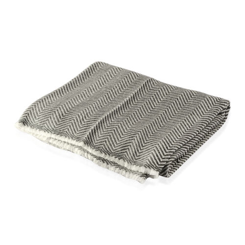 Luxury Collection Grey Herringbone Weave Cashmere Wool Throw (Size 254x140 Cm)