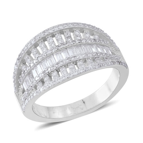 ELANZA Simulated White Diamond (Rnd) Ring in Rhodium Plated Sterling Silver Number of Simulated White Diamonds 158, Silver wt 5.52 Gms.