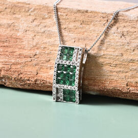 Lustro Stella - Simulated Emerald and Simulated Diamond Pendant with Chain (Size 18) in Platinum Overlay Sterling Silver