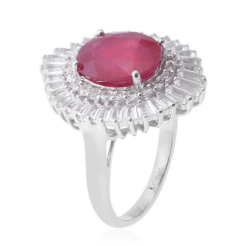 African Ruby (Ovl 7.12 Ct), White Topaz Ring in Rhodium Overlay Sterling Silver 8.920 Ct, Silver wt 5.50 Gms.