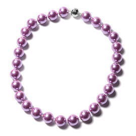 Purple Shell Pearl Beaded Necklace with Magnetic Lock in Rhodium Plated Sterling Silver 20 Inch