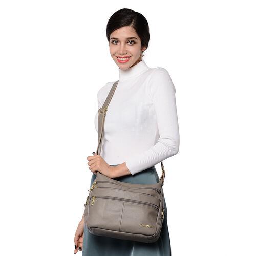 SENCILLEZ Multi Pocket 100% Genuine Leather Crossbody Bag - Linen Colour