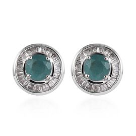 1.65 Ct AA Grandidierite and Diamond Halo Stud Earrings in 9K White Gold 2.80 Grams