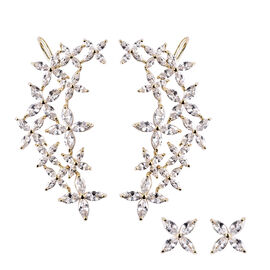 Simulated Diamond Ear Cuffs and Studs (with Push Back) in Gold Tone