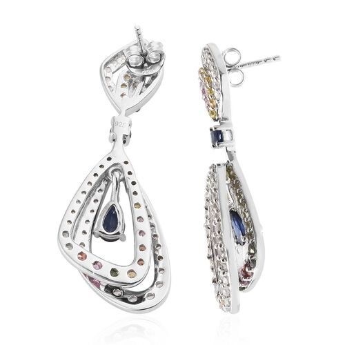 Kanchanaburi Blue Sapphire (Pear), Rainbow Sapphire and Natural Cambodian Zircon Earrings (with Push Back) in Platinum Overlay Sterling Silver 5.750 Ct. Silver wt 10.74 Gms