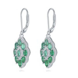 AAA Kagem Zambian Emerald (Mrq), Diamond Lever Back Earrings in Rhodium Overlay Sterling Silver