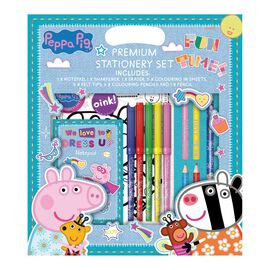 PEPPA PIG Premium 7 Piece Stationery Set ( Includes Pencil, Colouring Pencil, Felt Tip, Pad, Sharpen