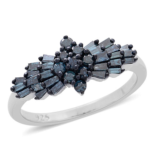 Limited Available- SGL Certified Blue Diamond (Rnd) (I1-I2) Ring in Platinum and Black Rhodium Overlay Sterling Silver 1.000 Ct.