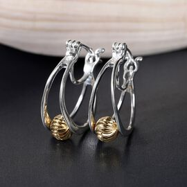 Italian Made Platinum and Yellow Gold Overlay Diamond Cut  Sterling Silver Hoop Earrings
