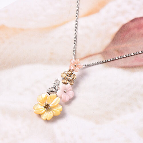 Jardin Collection - Yellow Mother of Pearl, Citrine, Simulated Diamond and Multi Gemstone Floral Pendant with Chain (Size 18) in Rhodium Overlay Sterling Silver