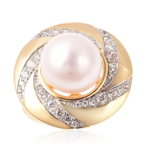 Edison Pearl and Natural Cambodian Zircon Swirl Ring in Yellow Gold Overlay Sterling Silver, Silver