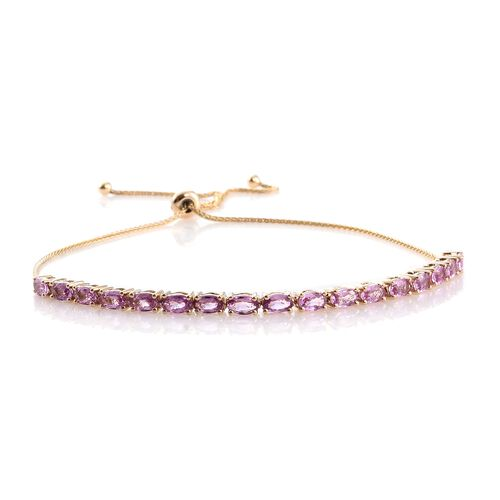 9K Yellow Gold 5 Carat AA Pink Sapphire (Ovl) Adjustable Bracelet (Size 6.5 to 9.5)