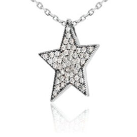 Cubic Zirconia Star Pendant with Chain in Sterling Silver 16 with 2 inch Extender