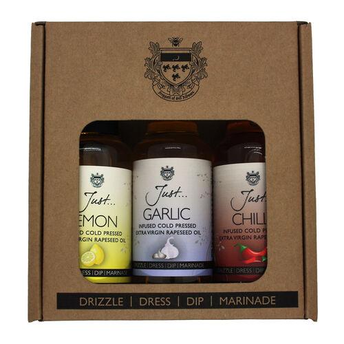 Just Oil 3x100ml Gift Pack (Chilli,Lemon,Garlic)