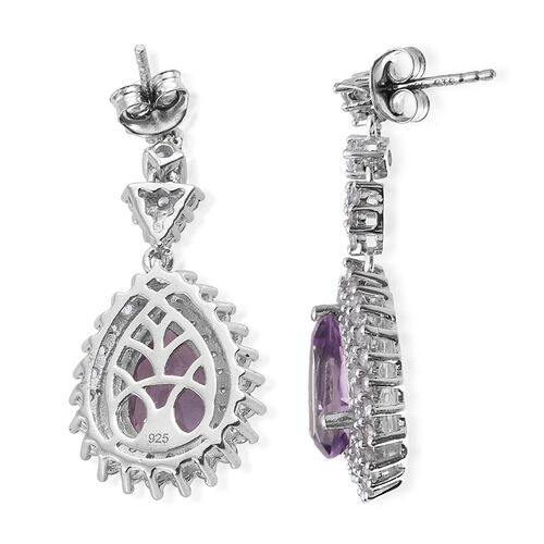 Rose De France Amethyst (Pear), Natural Cambodian Zircon Earrings (with Push Back) in Platinum Overlay Sterling Silver 8.000 Ct. Silver wt 6.45 Gms. Number of Gemstone 112