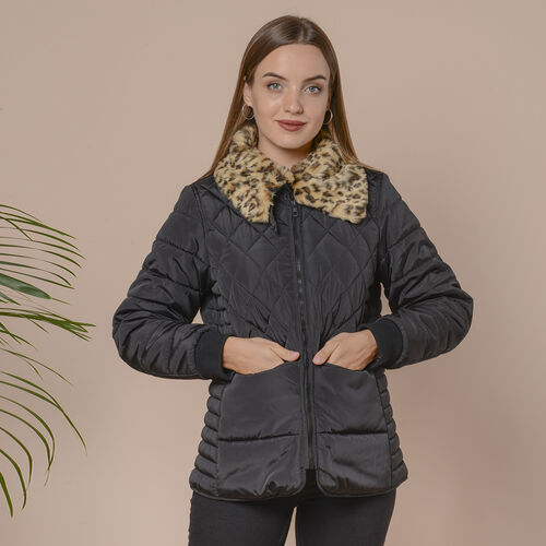 Leopard Faux Fur Collar Insulated Coat with Pockets and Zipper Closure (Size M 12-14) - Black