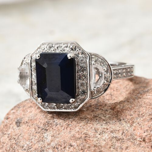 Rare Size Madagascar Blue Sapphire (Oct 4.20 Ct), White Topaz Ring in Platinum Overlay Sterling Silver 5.500 Ct.