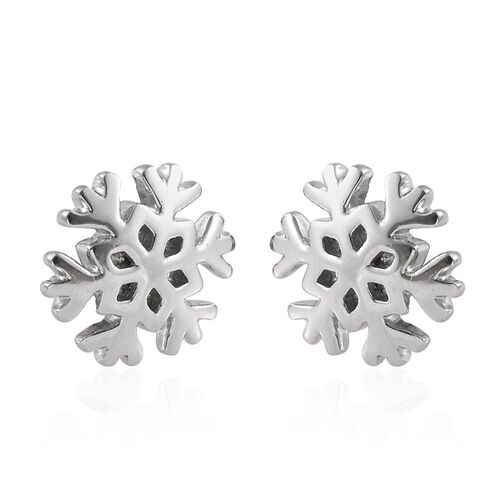RHAPSODY 950 Platinum Snowflake Stud Earrings (with Screw Back), Platinum wt 4.20 Gms.