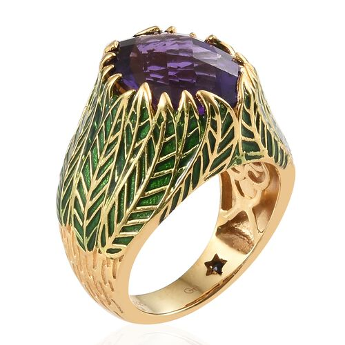 GP Rare Cut Lusaka Amethyst (Ovl 16x12 mm), Kanchanaburi Blue Sapphire Floral Ring in 14K Gold Overlay Sterling Silver 8.250 Ct. Silver wt 9.60 Gms.