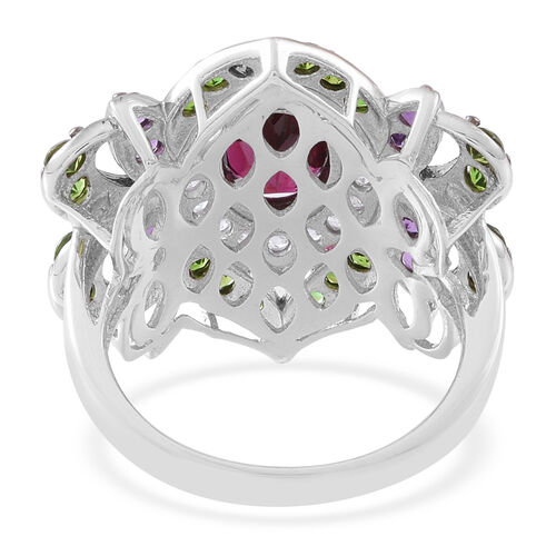 Designer Inspired-Rhodolite Garnet (Ovl 2.25 Ct), Russian Diopside, Amethyst and Natural White Cambodian Zircon Ring in Rhodium Plated Sterling Silver 4.500 Ct.
