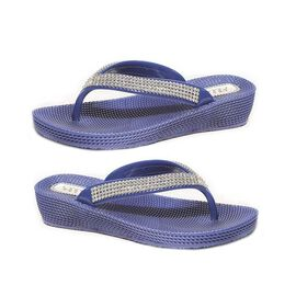 Ella Diamante Toe Post Sandals in Navy Colour