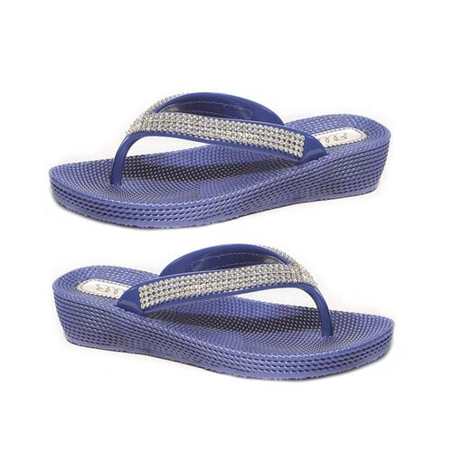 Ella Diamante Toe Post Sandals (Size 3) - Navy
