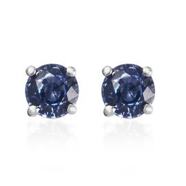 RHAPSODY 950 Platinum AAAA Royal Ceylon Sapphire Stud Earrings (with Screw Back) 1.00 Ct.