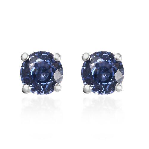 RHAPSODY 950 Platinum AAAA Royal Ceylon Sapphire Stud Earrings (with Screw Back) 1.00 Ct.