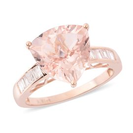 Limited Edition- 14K Rose Gold Rare Size AA Moroppino Morganite (Trl 12mm) and Diamond (I3) Ring 5.8
