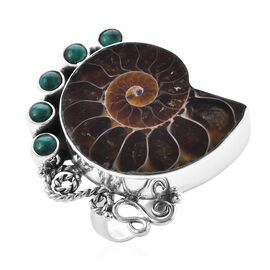 Royal Bali 1.50 Ct Ammonite Fossil and Malachite Ring in Sterling Silver 9 Grams