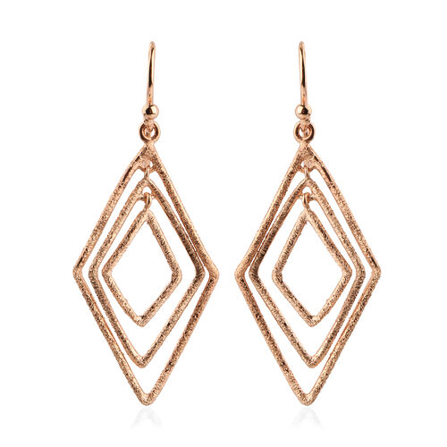 NY Designer Close Out Deal - Rose Gold Overlay Sterling Silver Diamond Cut Hook Earrings