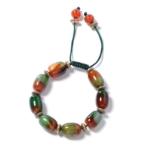Multi Agate, Red Agate and Multi Colour Beads Adjustable Bracelet (Size 6.5 to 9.5) 225.500 Ct