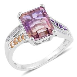 5.70 Ct Anahi Ametrine and Multi Gemstone Classic Ring in Platinum Plated Silver