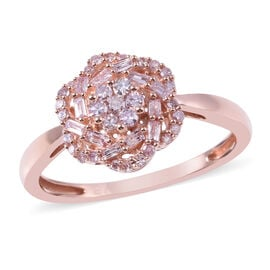 Limited Edition- 9K Rose Gold Natural Pink Diamond (Rnd and Bgt) Floral Ring 0.50 Ct.