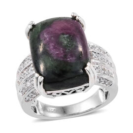 Ruby Zoisite (Cush 16x12 mm), Natural Cambodian Zircon Ring in Platinum Overlay Sterling Silver 16.0