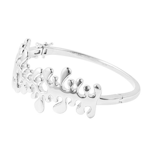 LucyQ Splash Bangle (Size 7.5) in Rhodium Overlay Sterling Silver, Silver wt 41.72 Gms