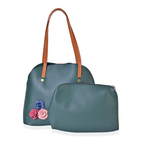 Set of 2 - Multi Colour 3D Flowers Embellished Green Colour Handbag (Size 34X29X15 Cm) and Pouch (Size 27X20X7 Cm)