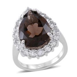 Designer Inspired Rare Size Brazilian Smoky Quartz (Pear 9.75 Ct), White Topaz Ring in Rhodium Plated Sterling Silver 11.750 Ct., Silver wt. 5.60 Gms.