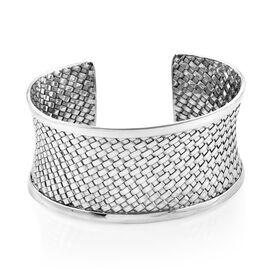 Woven Design Cuff Bangle in Sterling Silver 43.14 Grams 7.5 Inch