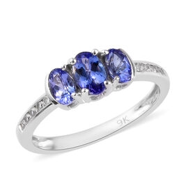 9K White Gold AA Tanzanite and Natural Cambodian Zircon Ring 1.15 Ct.