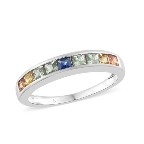 9K White Gold AA Multi Sapphire Half Eternity Band Ring 1.000 Ct.