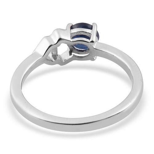Madagascar Blue Sapphire Ring in Platinum Overlay Sterling Silver 0.50 Ct.