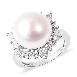 Edison Pearl and Cambodian Zircon Halo Ring in Rhodium Plated Sterling Silver