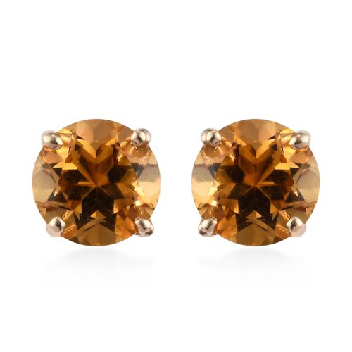 9K Yellow Gold AA Citrine (Rnd) Stud Earrings (with Push Back) 1.50 Ct.