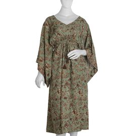 Long Kaftan with Floral Pattern (One Size Fits All) - Green
