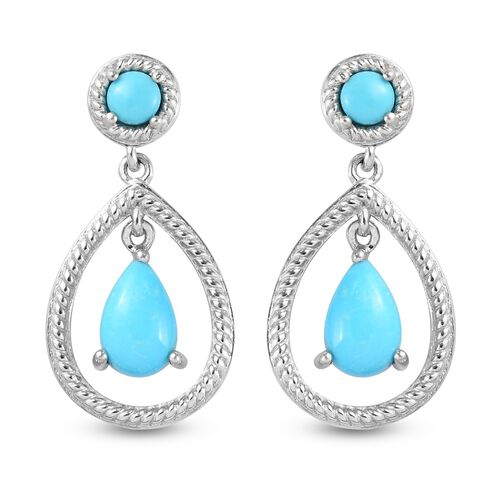 Arizona Sleeping Beauty Turquoise Dangling Earrings (with Push Back) in Platinum Overlay Sterling Si